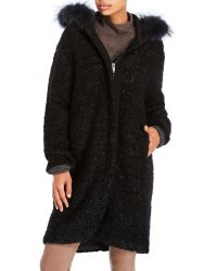 D'deMOO - Real Fur Trim Hooded Textured Knit Coat - Lyst