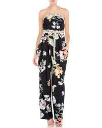 Leonard - Vanessa Strapless Floral Jumpsuit - Lyst