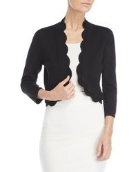 Cable & Gauge - Three-quarter Length Scalloped Open Cardigan - Lyst