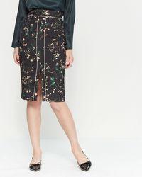 Les Copains Floral Print Wool-blend Pencil Skirt - Black