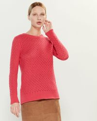 Les Copains Long Sleeve Crew Neck Cashmere Sweater - Red