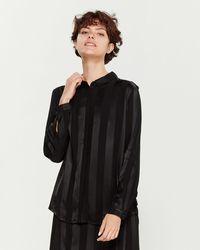 Le Mont St Michel Belted Stripe Long Sleeve Sport Shirt - Black