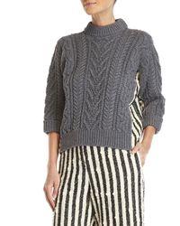 Ter Et Bantine - Three-quarter Sleeve Stripe Side Sweater - Lyst