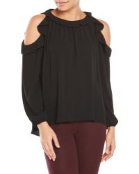 Tyche - Cold Shoulder Blouse With Ruffle Trim - Lyst