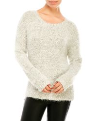Fever Long Sleeve Lurex Sweater - White