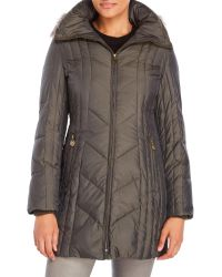 Anne Klein - Faux Fur Trim Quilted Down Coat - Lyst