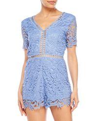 She + Sky - Crochet Lace Romper - Lyst