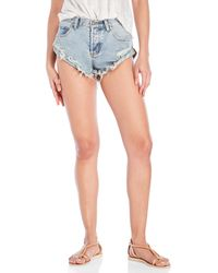 Mustard Seed Light Wash Distressed Hot Shorts - Blue