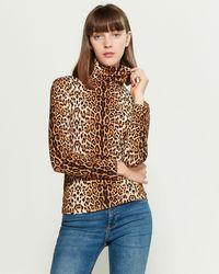 Cliche Leopard Long Sleeve Turtleneck Top - Brown