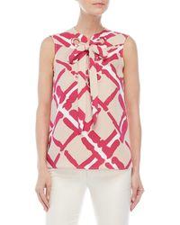 Derek Lam - Printed Lace-up Silk Top - Lyst