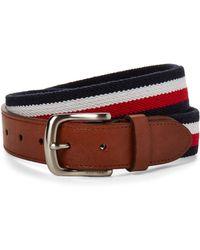 Tommy Hilfiger Navy & Red Woven Stretch Belt