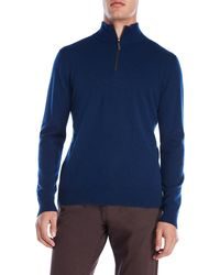 Qi - Suede Trim Quarter-zip Cashmere Sweater - Lyst