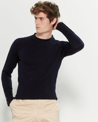 Thom Browne Rolled Neck Long Sleeve Sweater - Blue