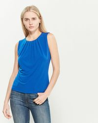 Calvin Klein Pleat Neck Solid Tank - Blue