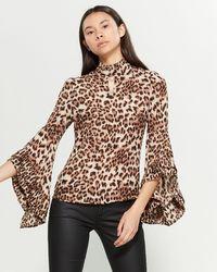 Gracia Leopard Print Blouse - Brown