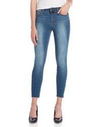 Tahari Raw Edge Skinny Ankle Jeans - Blue