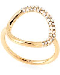 Michael Kors - Gold-tone Pave Circle Ring - Lyst