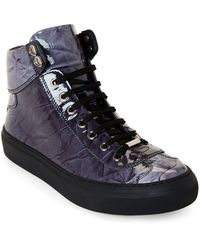 Jimmy Choo Black Argyle Crinkled Patent High-top Sneakers