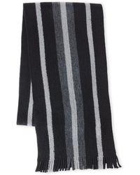MICHAEL Michael Kors - Black Striped Knit Fringe Scarf - Lyst