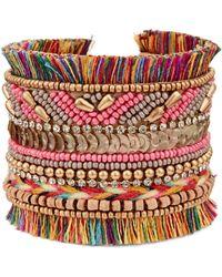 pannee by panacea Pink Beaded Fringe Cuff Bracelet