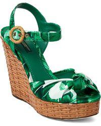 Dolce & Gabbana - Green & White Botanical Garden Wedge Sandals - Lyst
