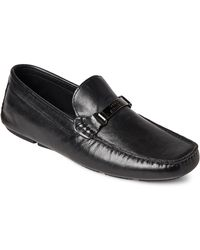 Versace - Black Leather Driver Loafers - Lyst