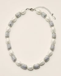 Natasha Couture Embellished Faux Pearl Stone Necklace - Multicolor
