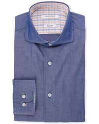 Isaac Mizrahi New York - Navy Slim Fit Chambray Dress Shirt - Lyst