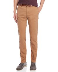 Scotch & Soda - Solid Belted Chinos - Lyst