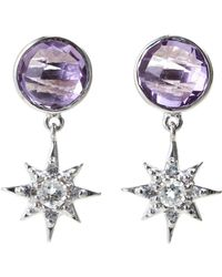 Anzie - Sterling Silver, Amethyst & White Sapphire Starburst Earrings - Lyst