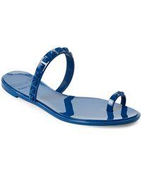 Carmen Sol - Dark Blue Studded Jelly Sandals - Lyst