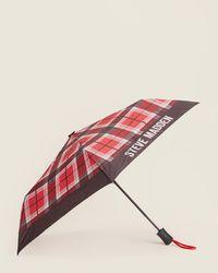 Steve Madden Contrast Print Auto Open & Close Umbrella - Multicolor