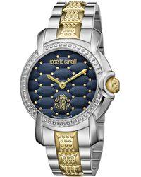 Roberto Cavalli - Rv1l019m0156 Silver-tone & Navy Watch - Lyst