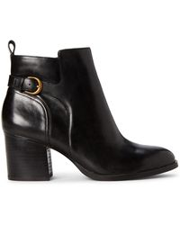 Lauren by Ralph Lauren Black Ginelle Leather Ankle Booties