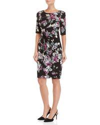 Connected Apparel - Floral Faux Wrap Dress - Lyst