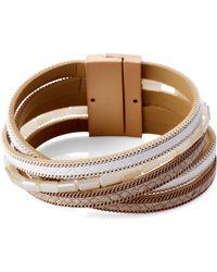 pannee by panacea Nude & White Multi-strand Beaded Bracelet - Multicolor