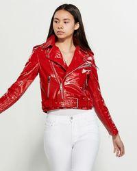 Walter Baker - Red Chrystal Leather Moto Jacket - Lyst