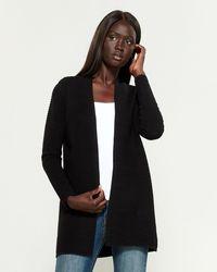 Joan Vass Long Sleeve Ribbed Open Cardigan - Black