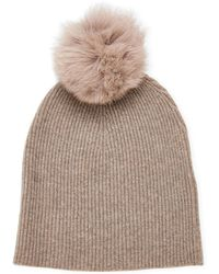 7ce10f617 Real Fur Cashmere Beanie - Brown