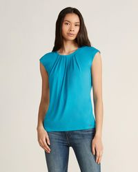 Calvin Klein Cerulean Pleat Overlay Top - Blue