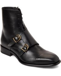 Jil Sander - Black Leather Buckled Lace-up Boots - Lyst
