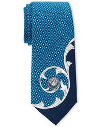 Versace - Light Blue Medusa Baroque Slim Silk Tie - Lyst