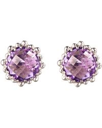 Anzie - Sterling Silver & Amethyst Round-Shaped Stud Earrings - Lyst