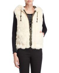 BCBGMAXAZRIA Reversible Real Fur Vest - White