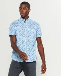Con.struct - Flowering Cherry Slim Fit Short Sleeve Stretch Shirt - Lyst