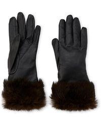 Fownes - Rabbit Fur Trim Leather Gloves - Lyst