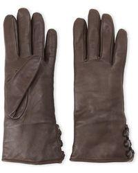 Fownes Rabbit Fur Trim Leather Gloves - Multicolor