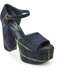 Mulberry - Blue Tartan Platform Block Heel Sandals - Lyst
