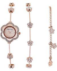 Anne Klein - Ak3182 Rose Gold-tone Floral Watch & Bracelet Set - Lyst