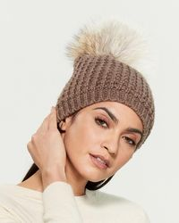 Kyi Kyi Real Fur Pom-pom Beanie - Brown